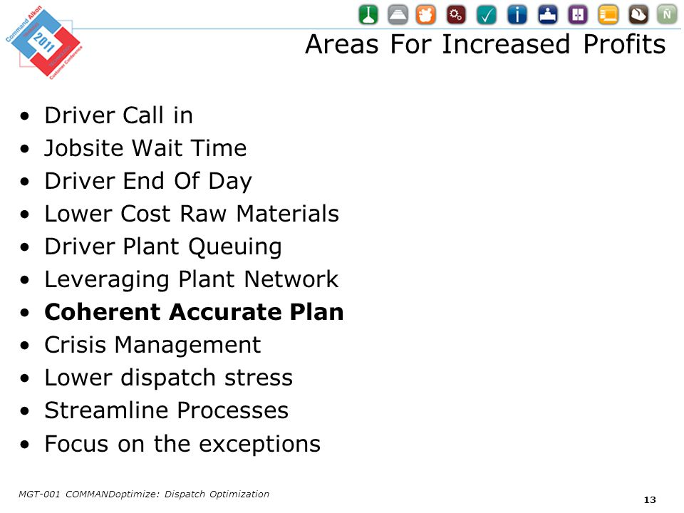 Areas For Increased Profits