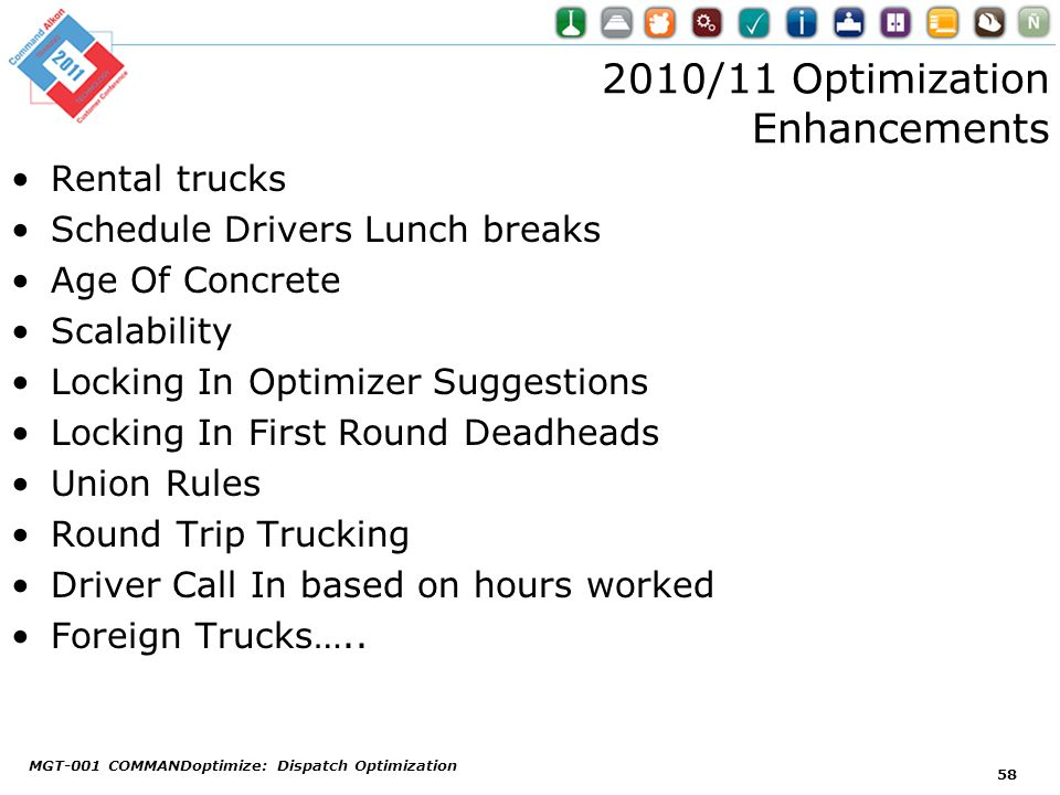 2010/11 Optimization Enhancements