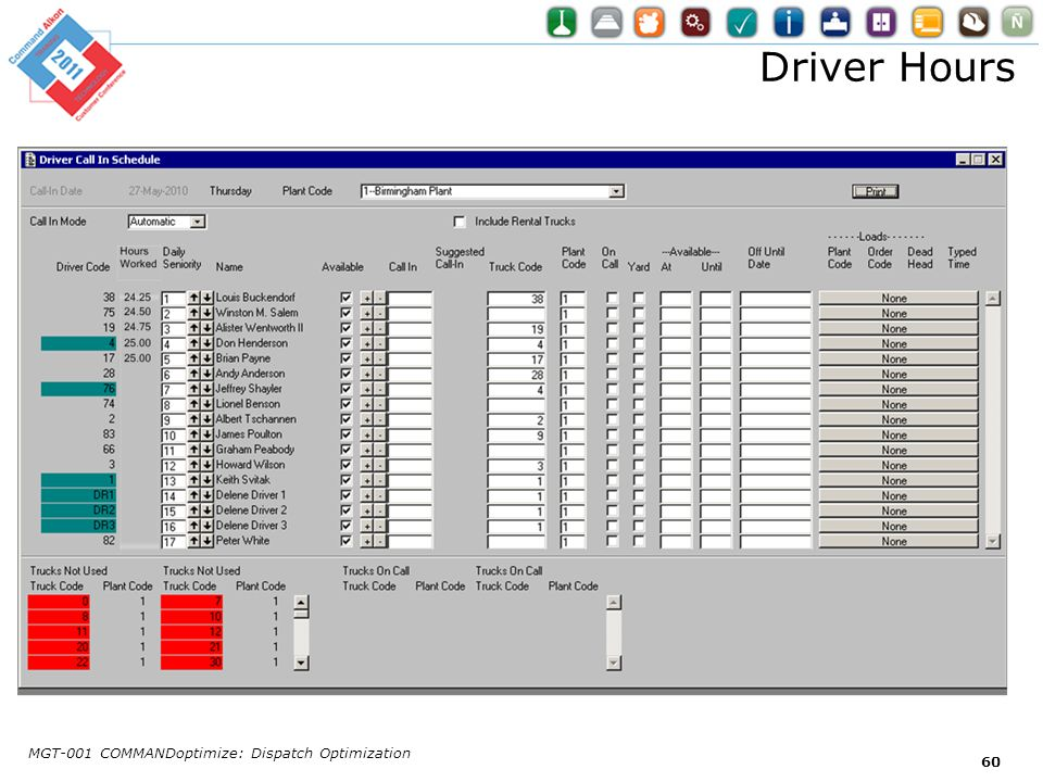 Driver Hours MGT-001 COMMANDoptimize: Dispatch Optimization