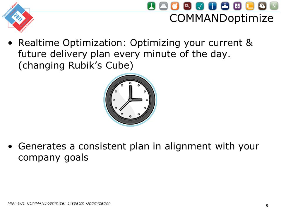 COMMANDoptimize Realtime Optimization: Optimizing your current & future delivery plan every minute of the day. (changing Rubik's Cube)