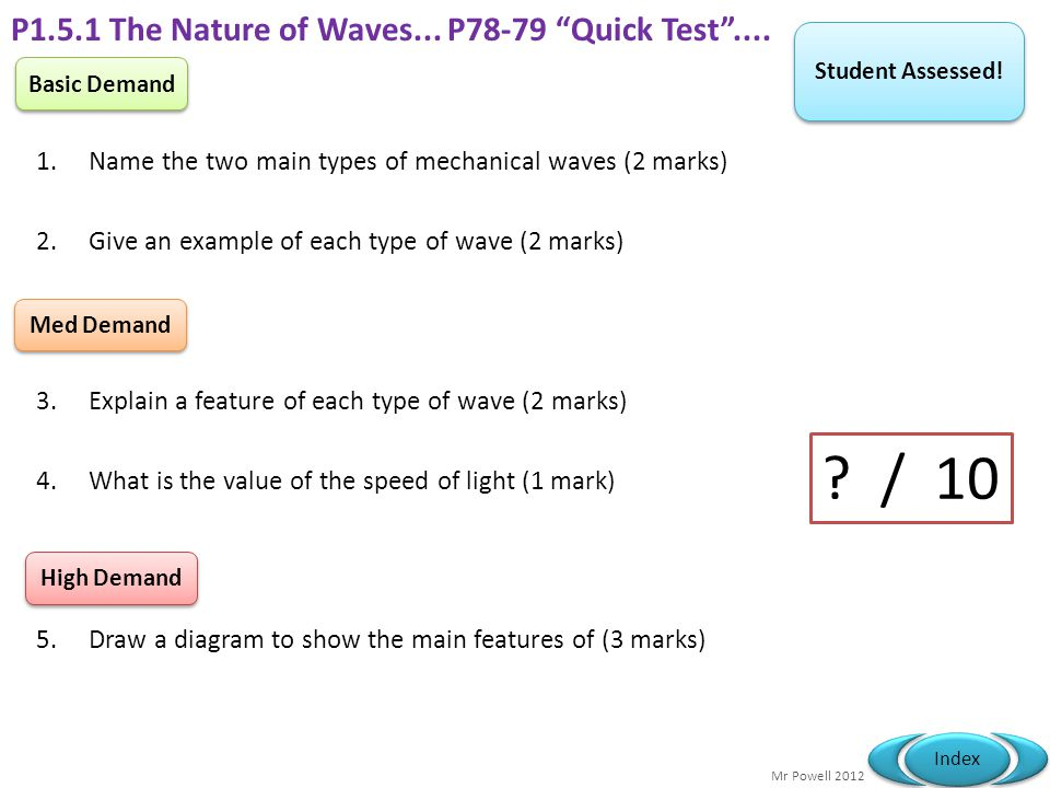 P1.5.1 The Nature of Waves... P78-79 Quick Test ....