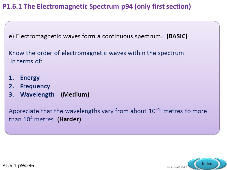 P1.6.1 The Electromagnetic Spectrum p94 (only first section)
