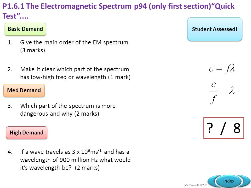 P1.6.1 The Electromagnetic Spectrum p94 (only first section) Quick Test ....