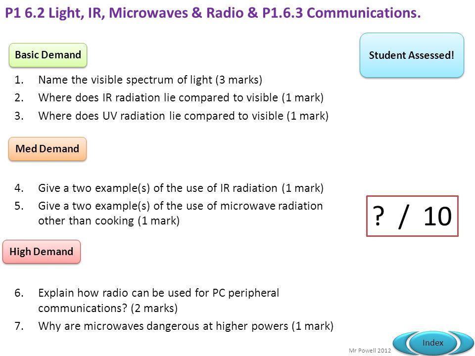 P1 6.2 Light, IR, Microwaves & Radio & P1.6.3 Communications.