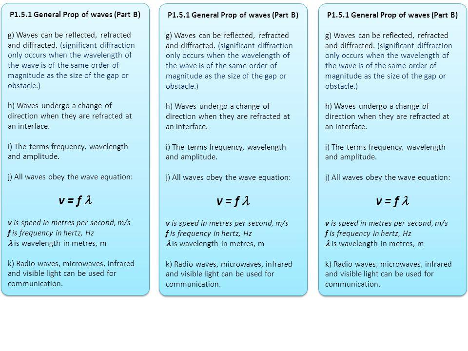 v = f  v = f  v = f  P1.5.1 General Prop of waves (Part B)