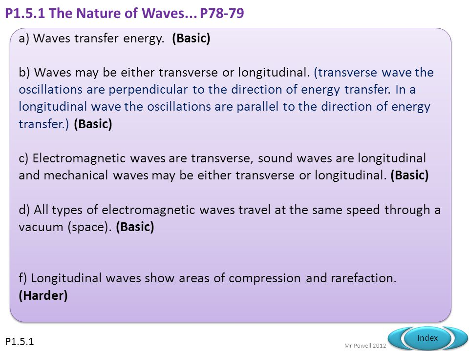 P1.5.1 The Nature of Waves... P78-79 a) Waves transfer energy. (Basic)