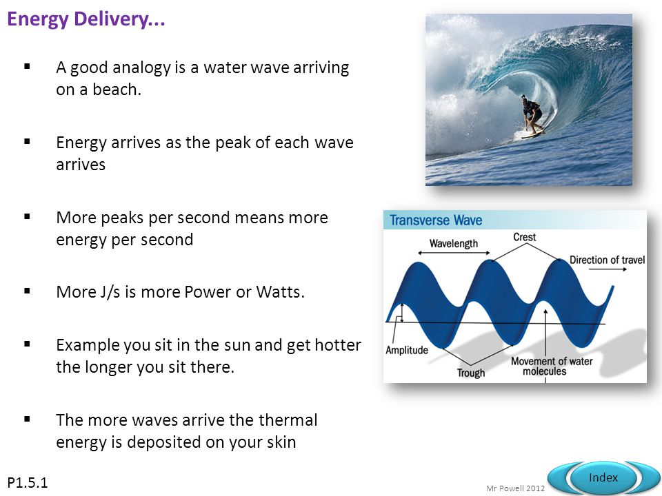 Energy Delivery... A good analogy is a water wave arriving on a beach.