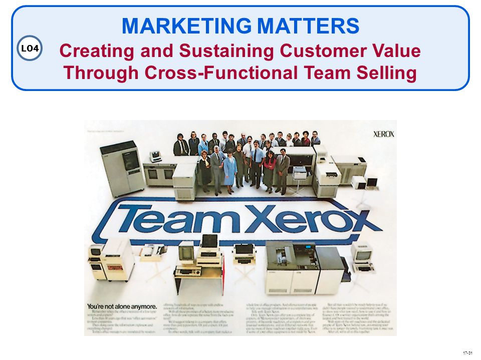 MARKETING MATTERS Creating and Sustaining Customer Value Through Cross-Functional Team Selling