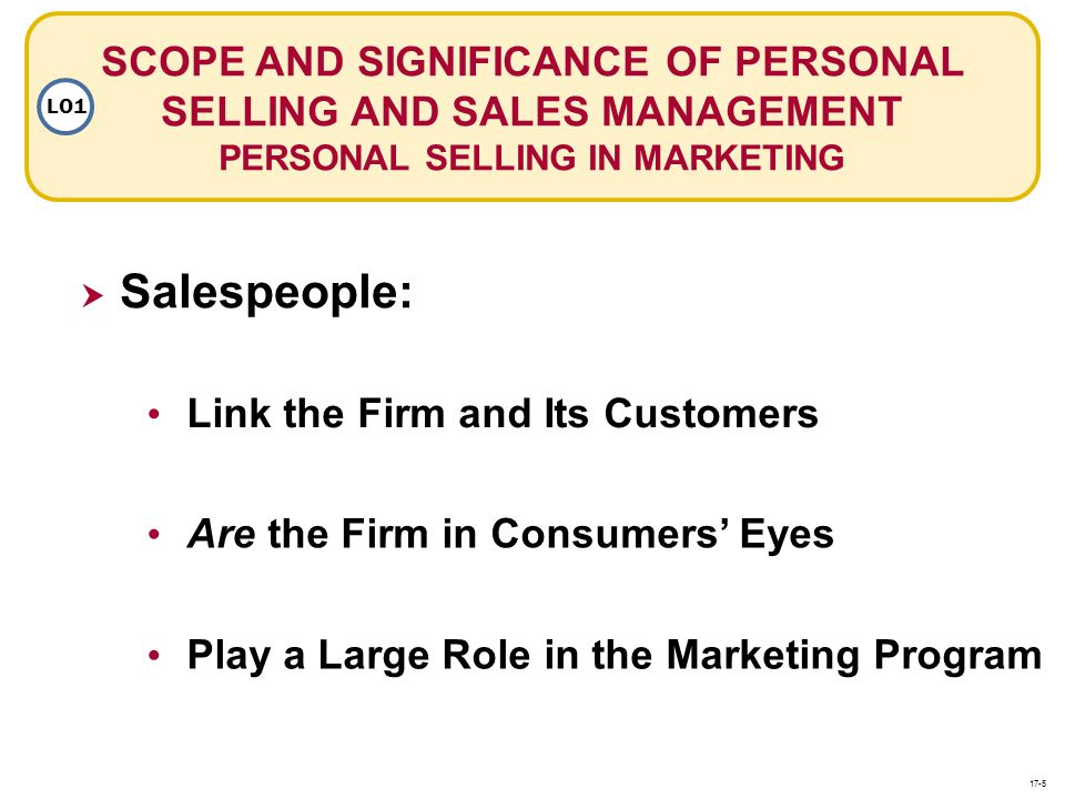 SCOPE AND SIGNIFICANCE OF PERSONAL SELLING AND SALES MANAGEMENT PERSONAL SELLING IN MARKETING