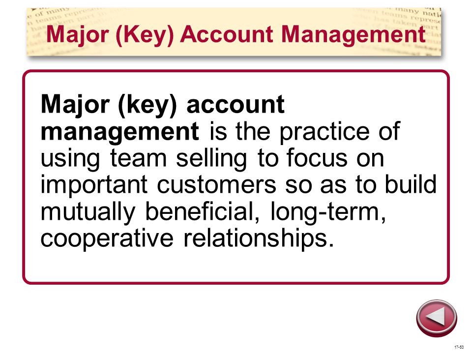 Major (Key) Account Management