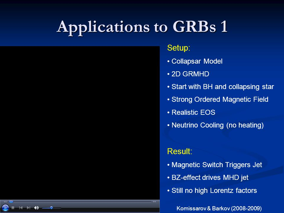 Applications to GRBs 1 Setup: Result: Collapsar Model 2D GRMHD
