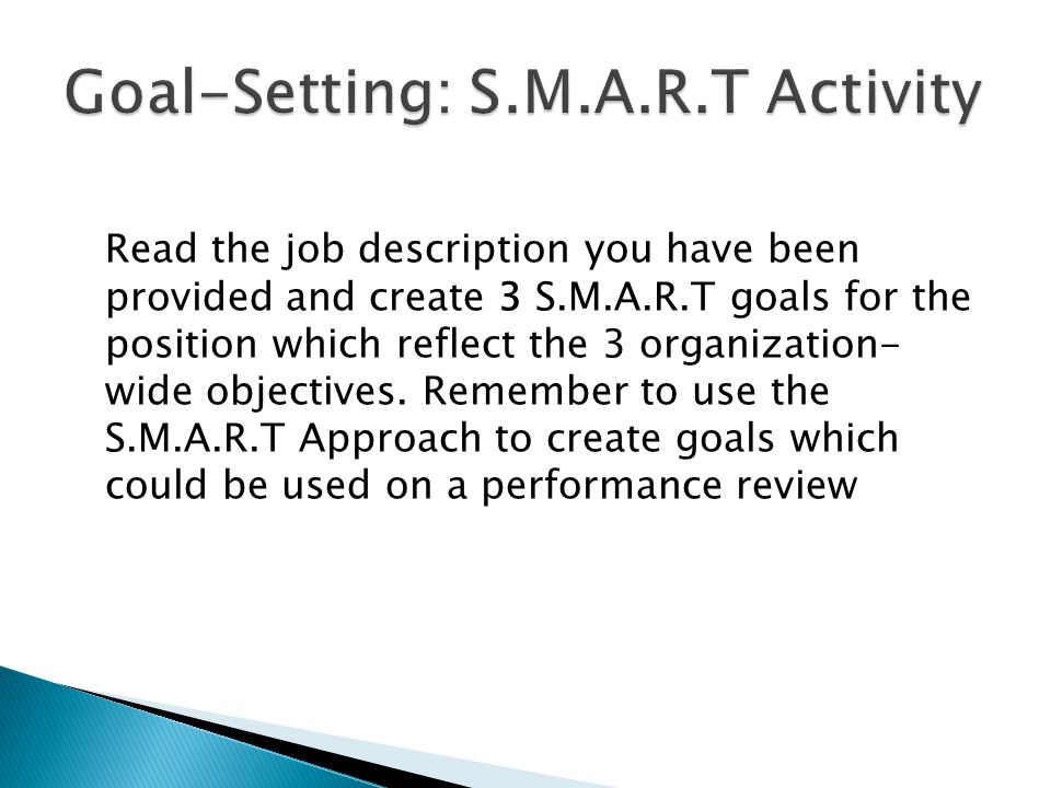 Goal-Setting: S.M.A.R.T Activity