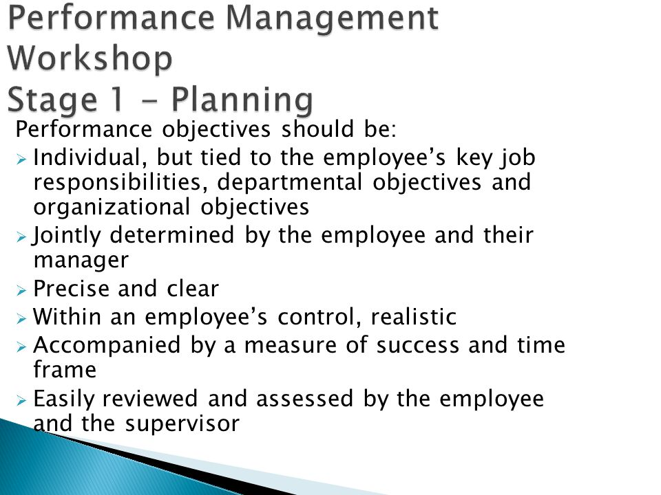 Performance Management Workshop Stage 1 - Planning