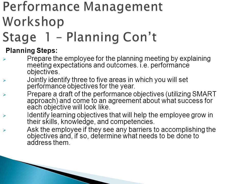 Performance Management Workshop Stage 1 – Planning Con't