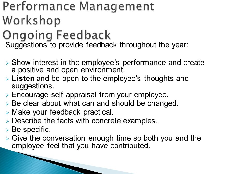 Performance Management Workshop Ongoing Feedback