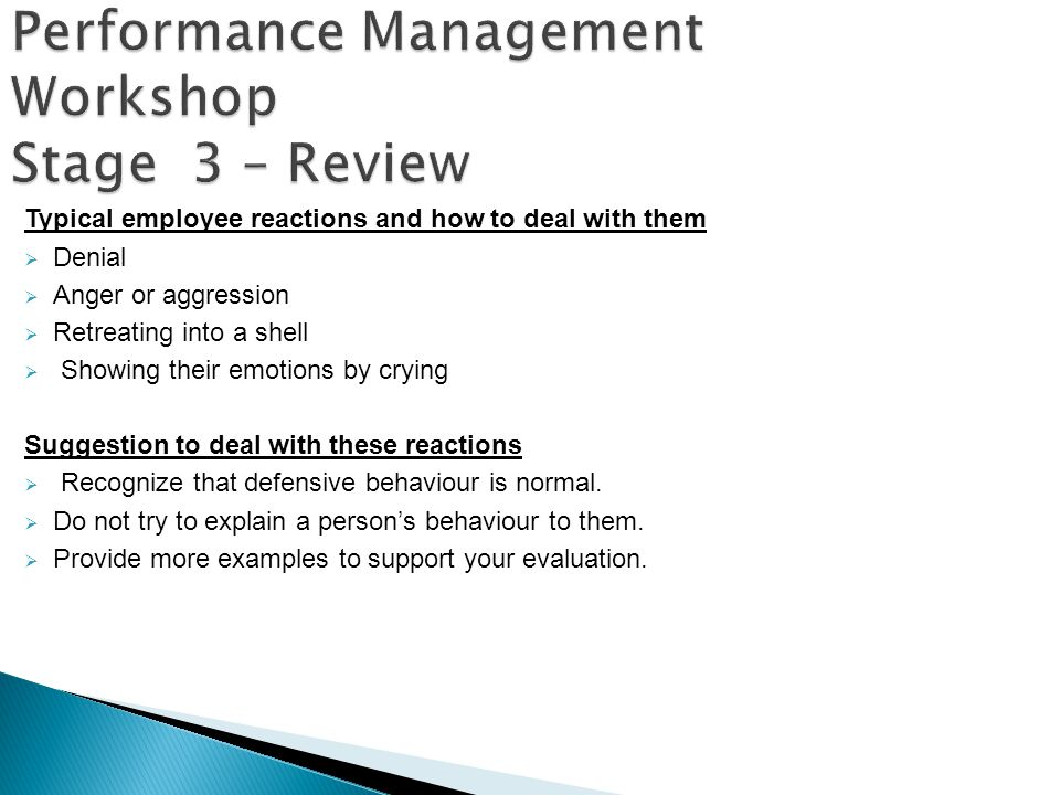Performance Management Workshop Stage 3 – Review