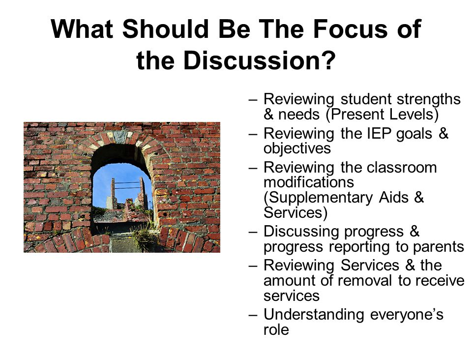 What Should Be The Focus of the Discussion