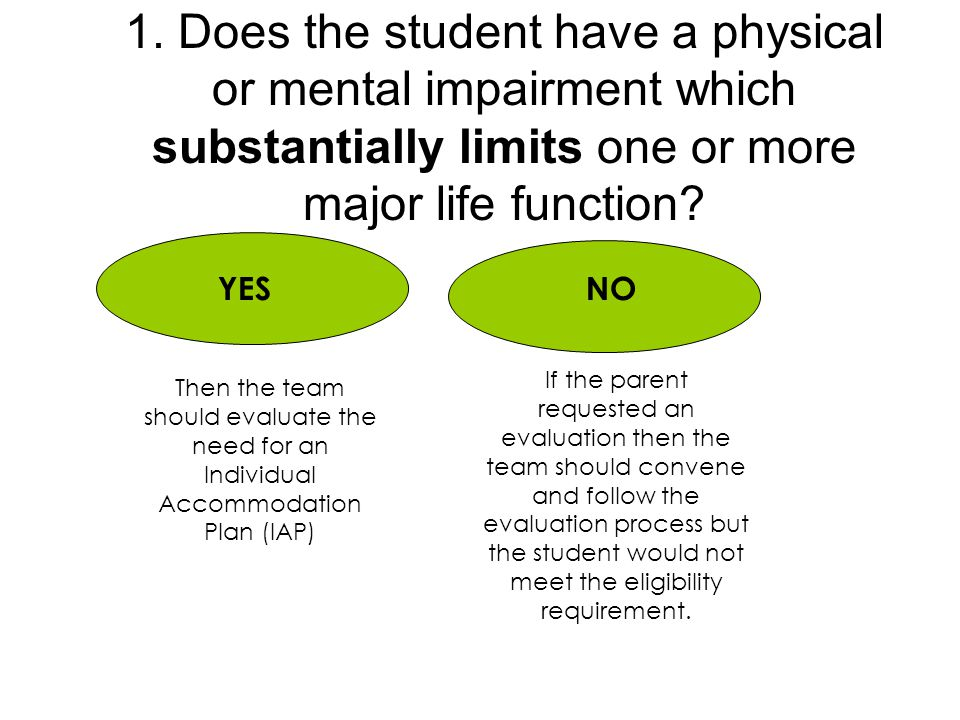 1. Does the student have a physical or mental impairment which substantially limits one or more major life function