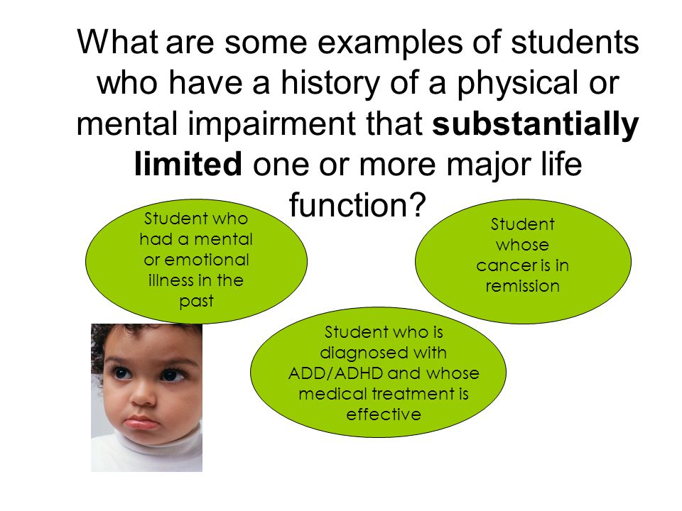 What are some examples of students who have a history of a physical or mental impairment that substantially limited one or more major life function