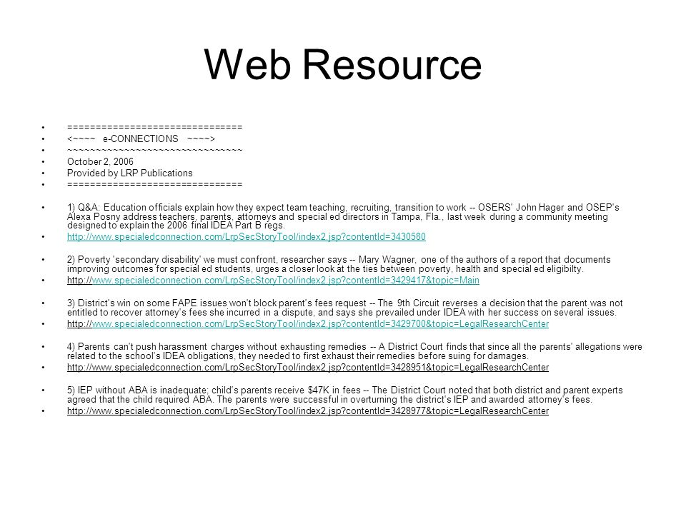 Web Resource ===============================