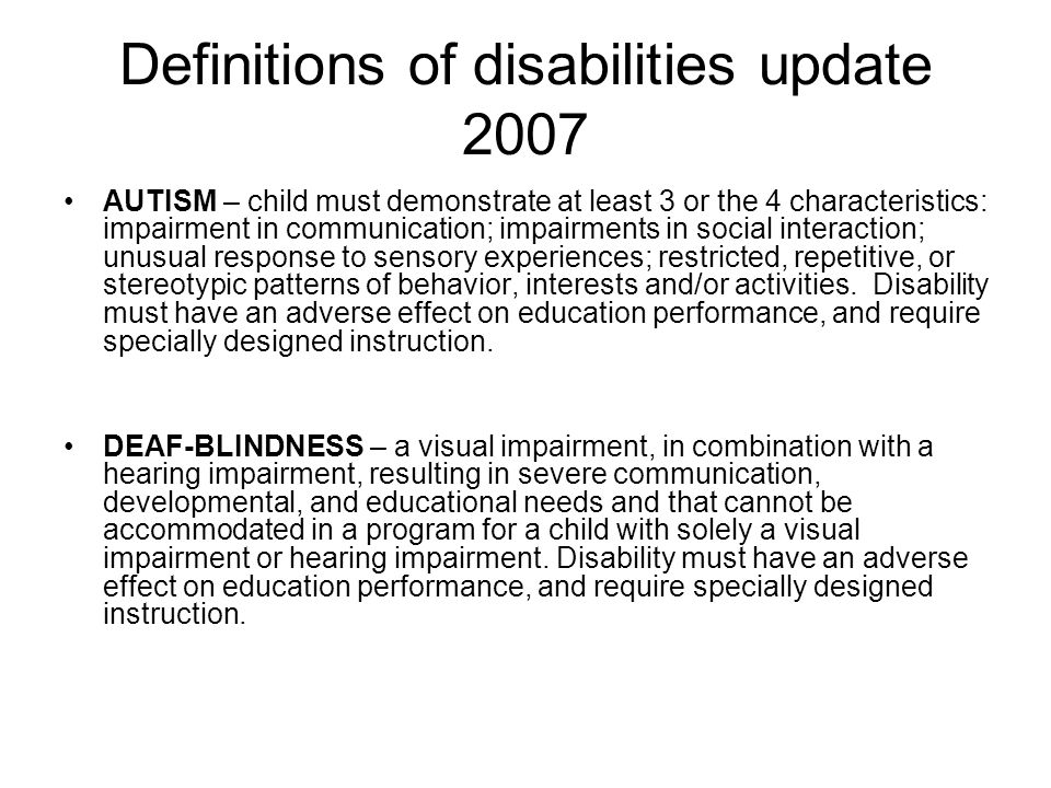 Definitions of disabilities update 2007