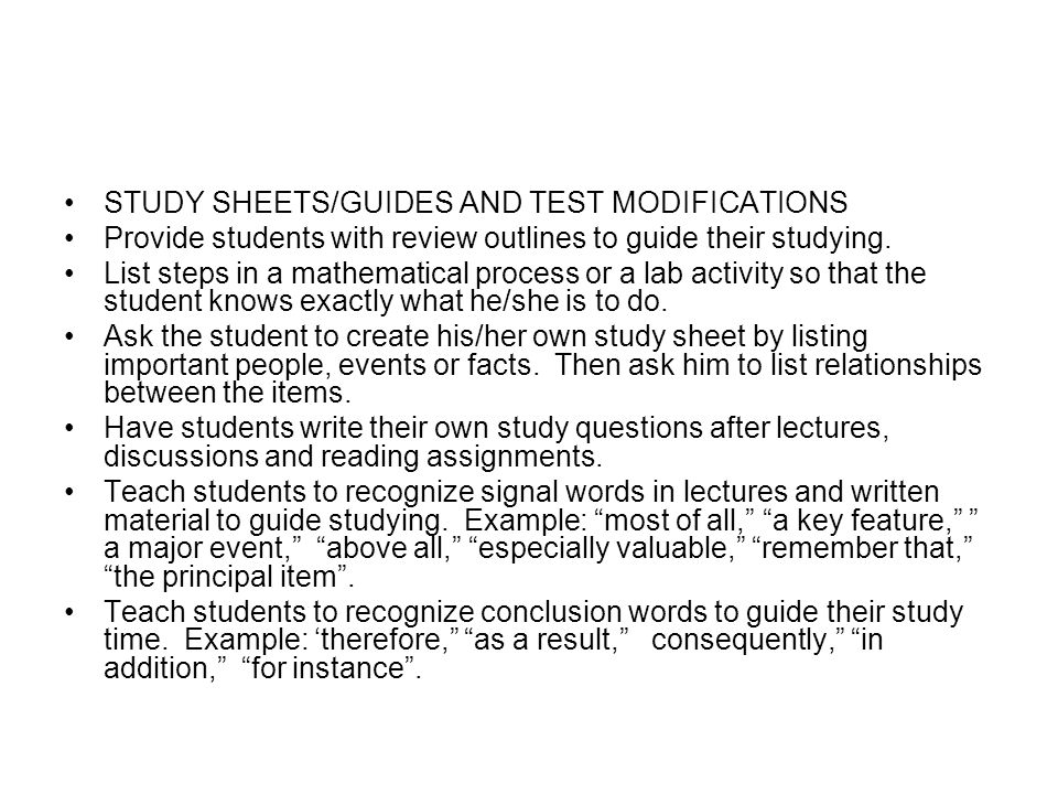 STUDY SHEETS/GUIDES AND TEST MODIFICATIONS