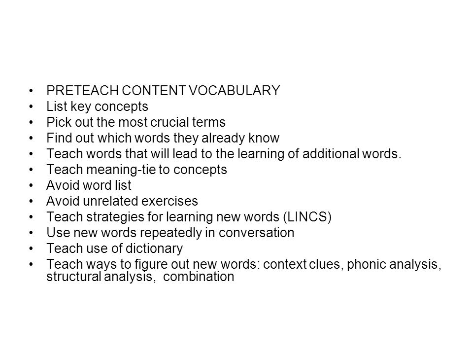 PRETEACH CONTENT VOCABULARY