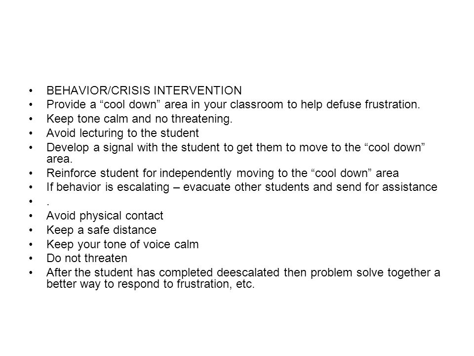 BEHAVIOR/CRISIS INTERVENTION