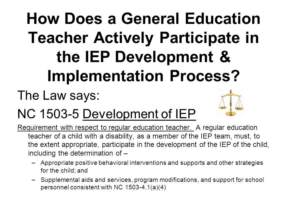 How Does a General Education Teacher Actively Participate in the IEP Development & Implementation Process