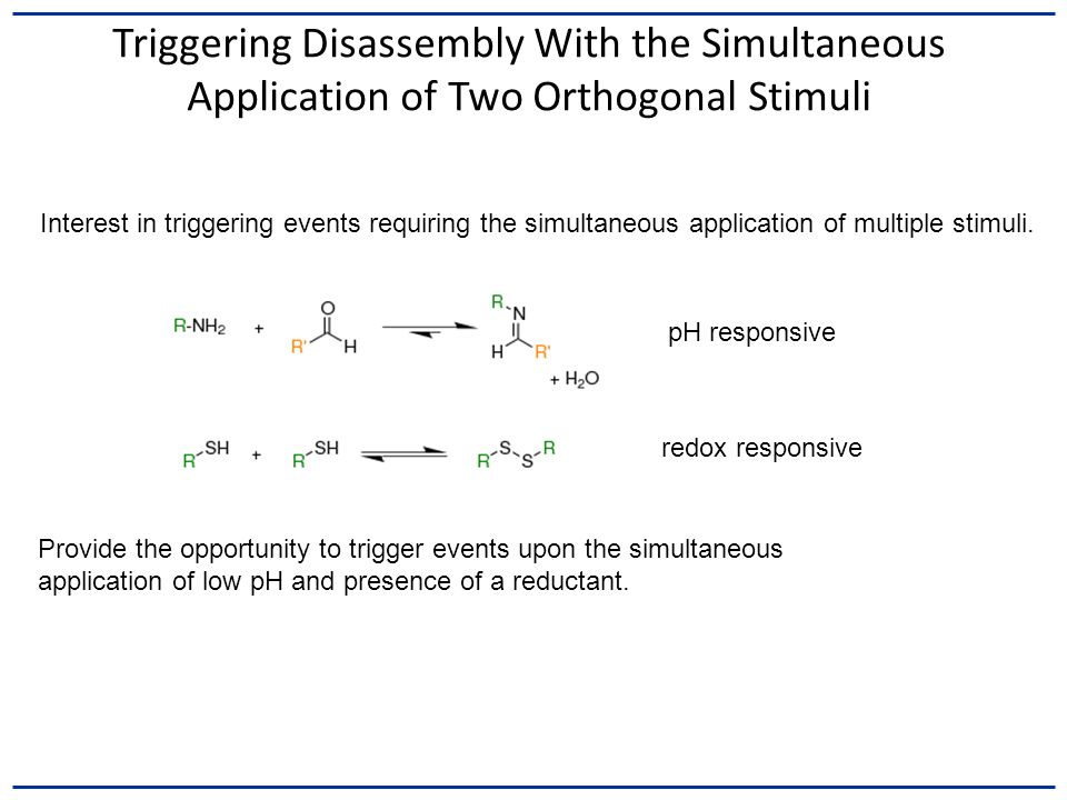 Triggering Disassembly With the Simultaneous Application of Two Orthogonal Stimuli