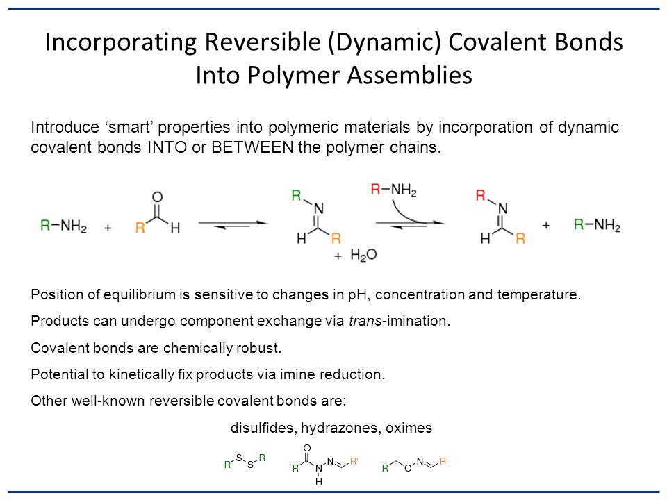 Incorporating Reversible (Dynamic) Covalent Bonds Into Polymer Assemblies