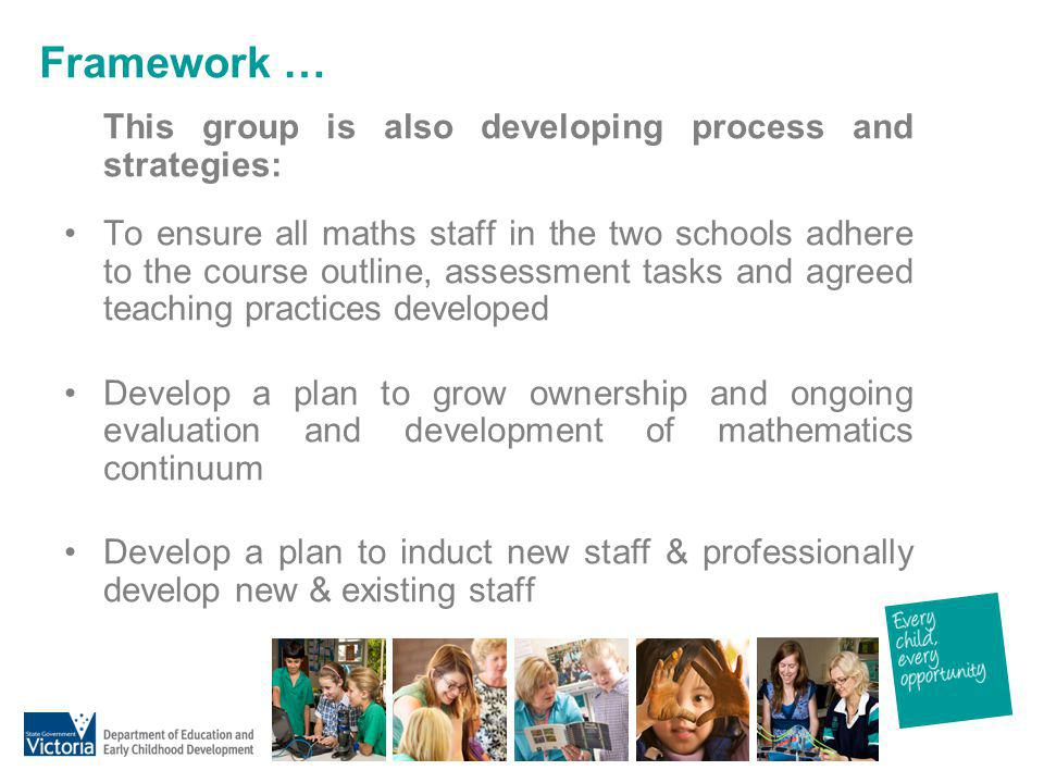 Framework … This group is also developing process and strategies: