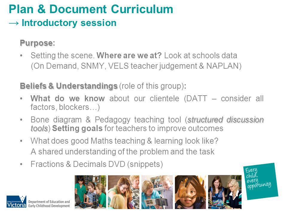 Plan & Document Curriculum → Introductory session