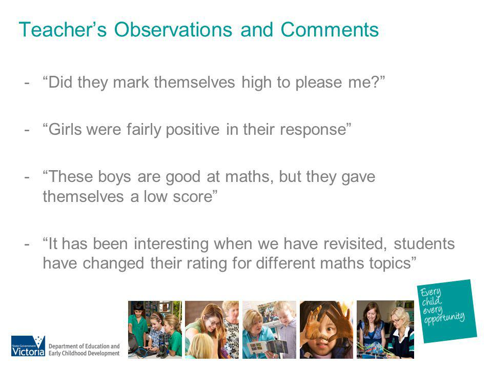 Teacher's Observations and Comments