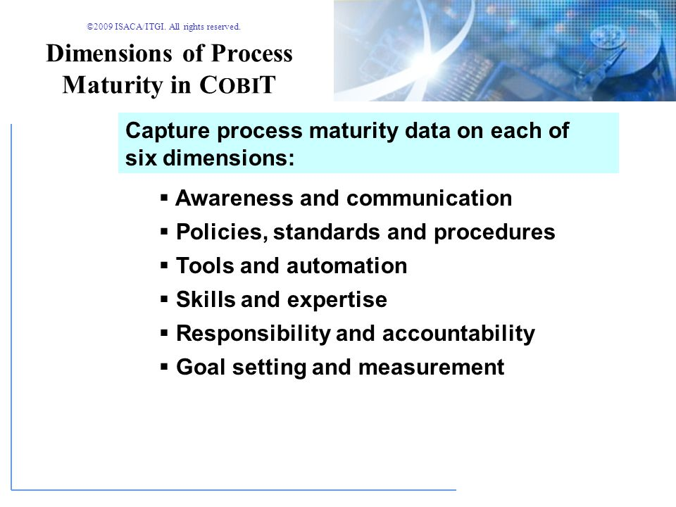Dimensions of Process Maturity in COBIT
