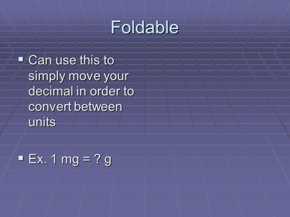 Foldable Can use this to simply move your decimal in order to convert between units Ex. 1 mg = g
