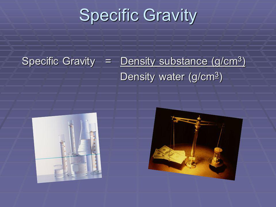 Specific Gravity Density water (g/cm3)