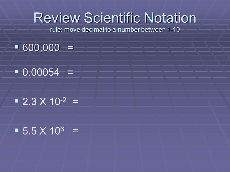 Review Scientific Notation rule: move decimal to a number between 1-10