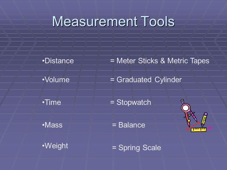 Measurement Tools Distance = Meter Sticks & Metric Tapes Volume