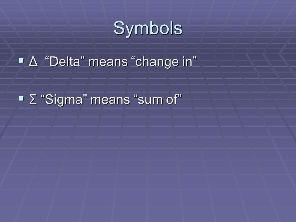 Symbols Δ Delta means change in Σ Sigma means sum of