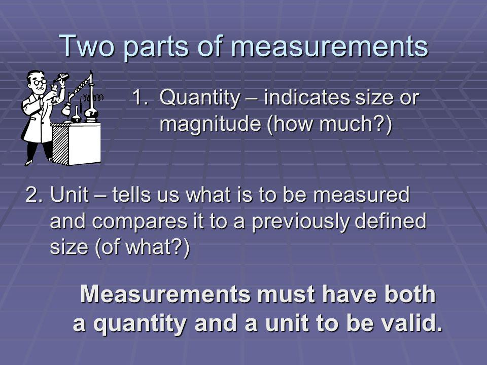 Two parts of measurements