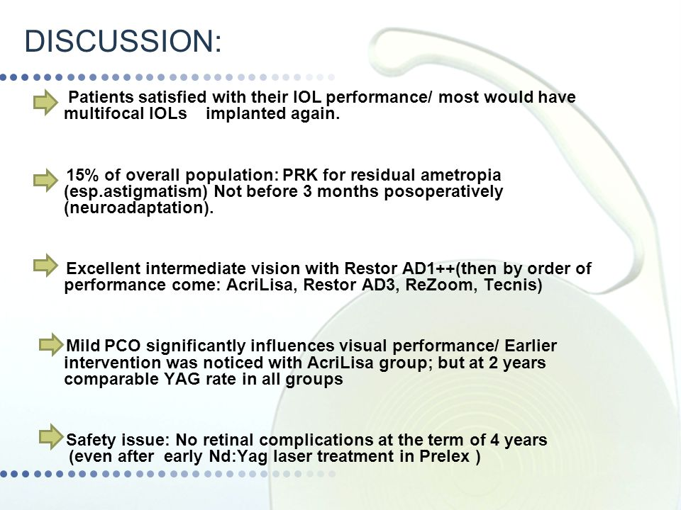 DISCUSSION: Patients satisfied with their IOL performance/ most would have multifocal IOLs implanted again.