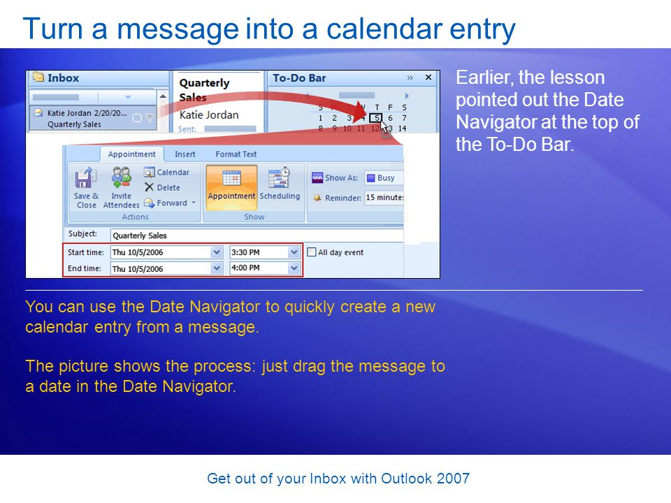 Turn a message into a calendar entry