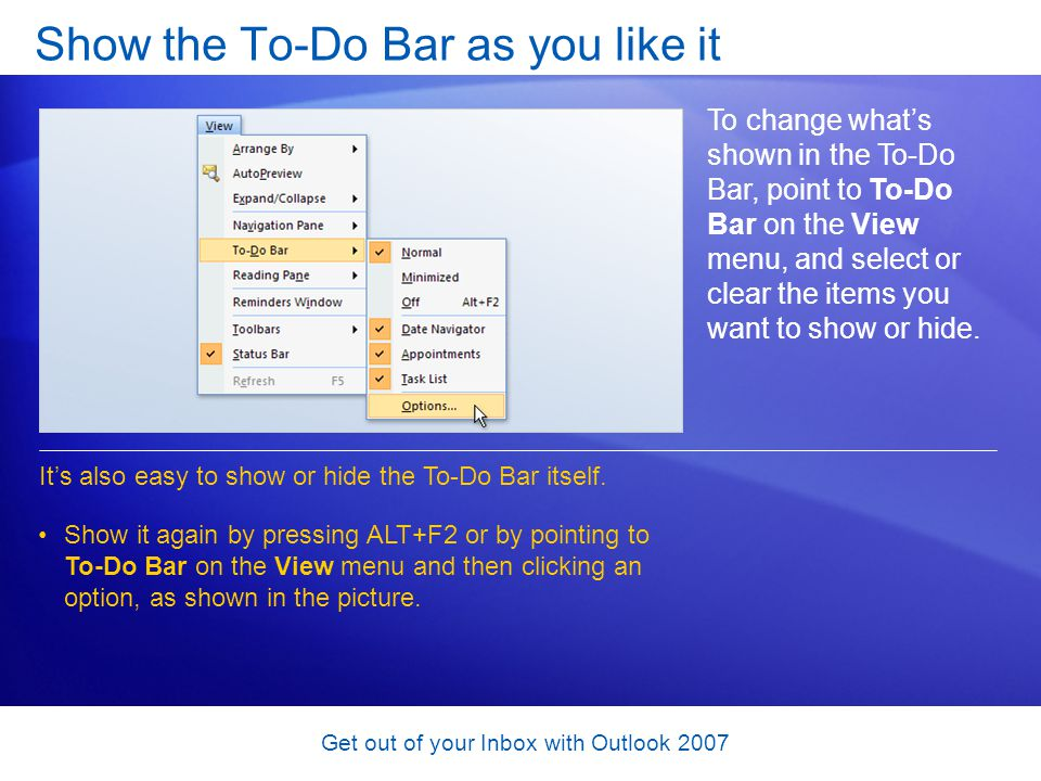 Show the To-Do Bar as you like it
