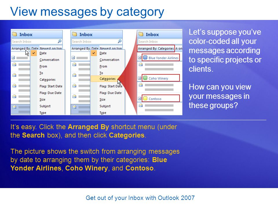 View messages by category
