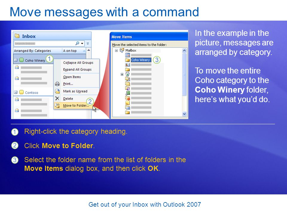 Move messages with a command