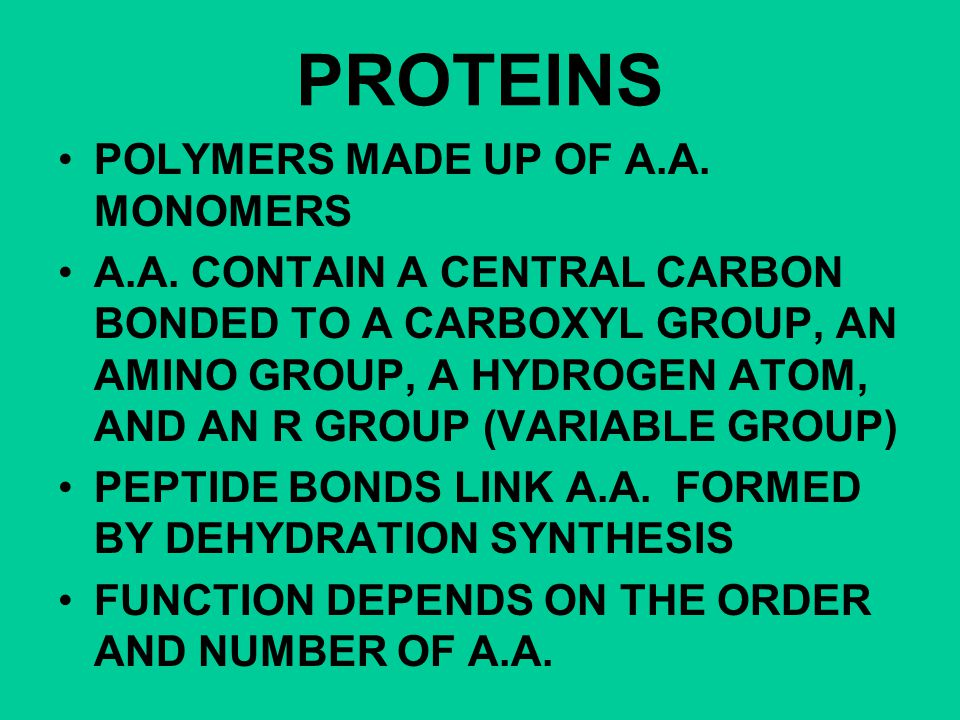 PROTEINS POLYMERS MADE UP OF A.A. MONOMERS