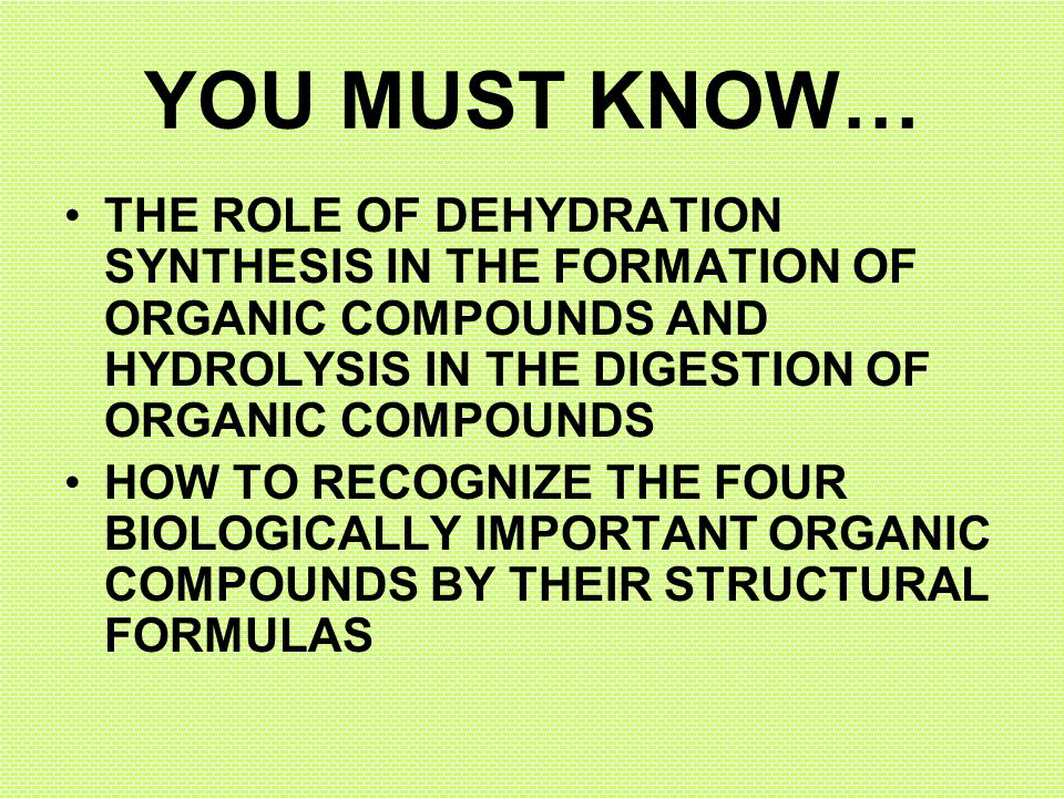 YOU MUST KNOW… THE ROLE OF DEHYDRATION SYNTHESIS IN THE FORMATION OF ORGANIC COMPOUNDS AND HYDROLYSIS IN THE DIGESTION OF ORGANIC COMPOUNDS.