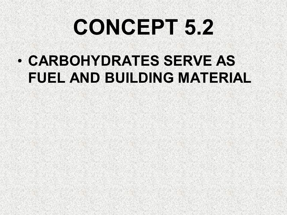 CONCEPT 5.2 CARBOHYDRATES SERVE AS FUEL AND BUILDING MATERIAL