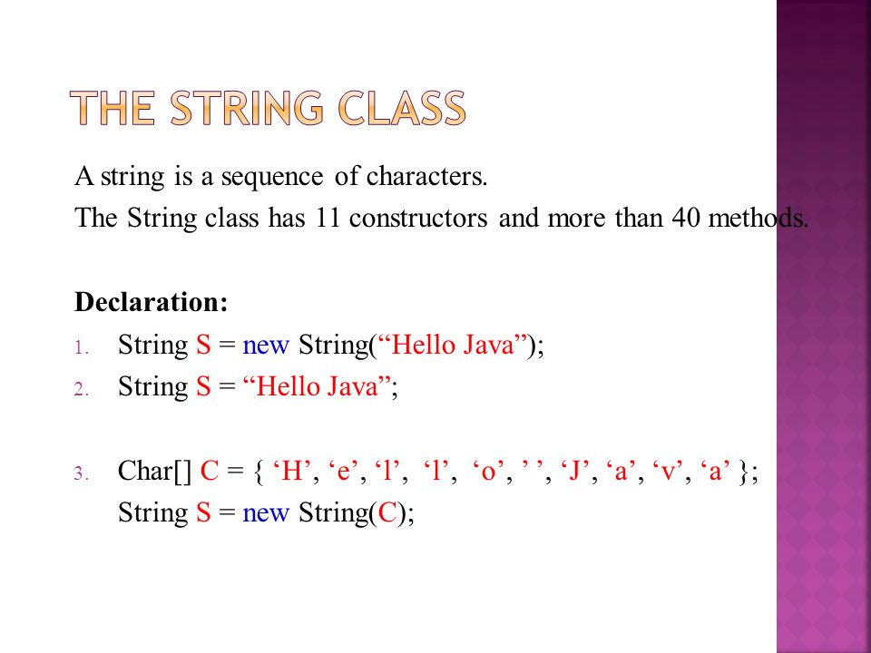 The String Class A string is a sequence of characters.